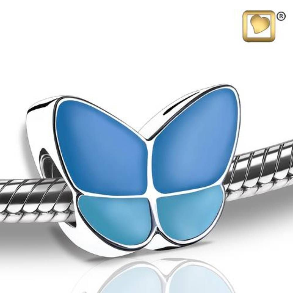 blue enamel butterfly bracelet charm cremation jewelry love urns treasure