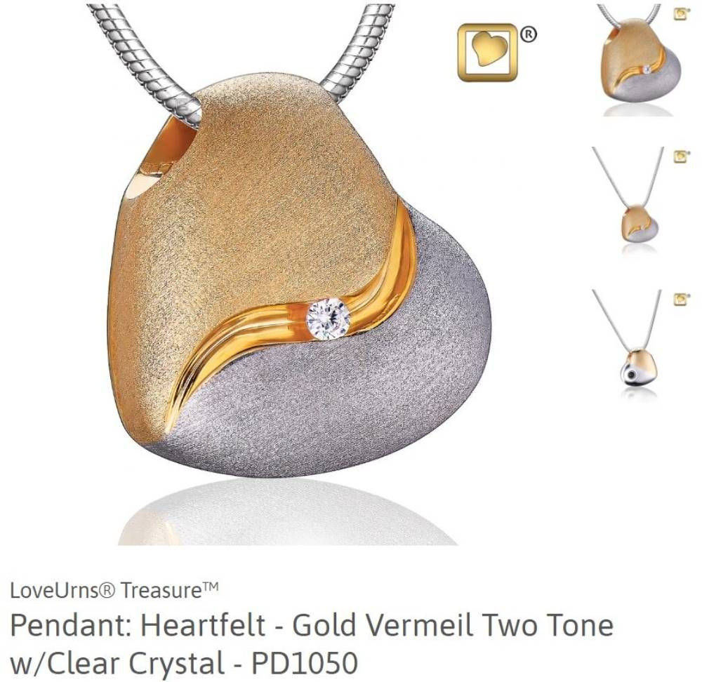 two tone gold silver heart clear crystal pendant cremation jewelry love urns treasure
