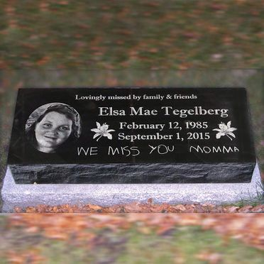 custom portrait and text laser etch black granite pillow marker memorial headstone