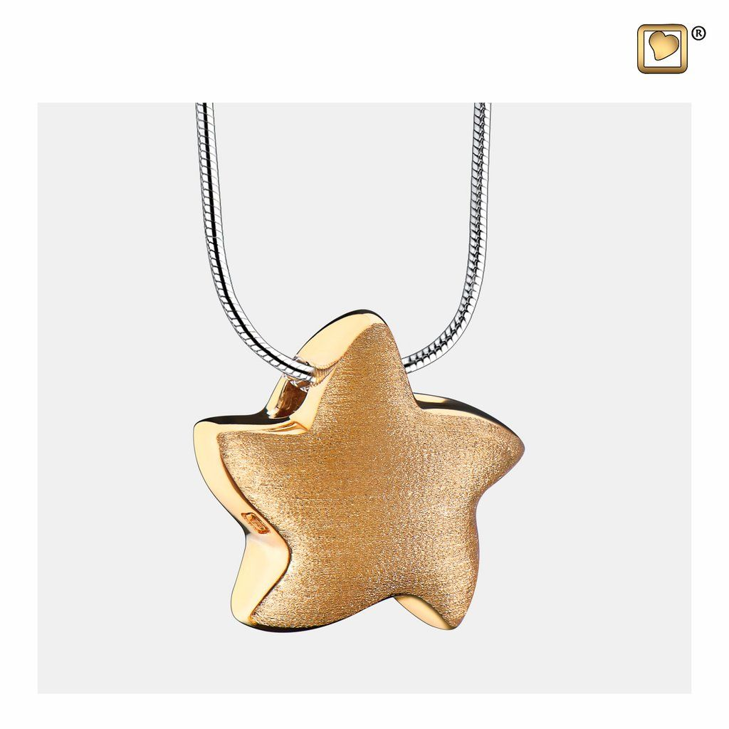 gold star cremation necklace