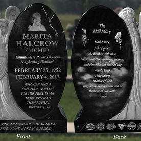 custom upright memorial headstone angel tall granite