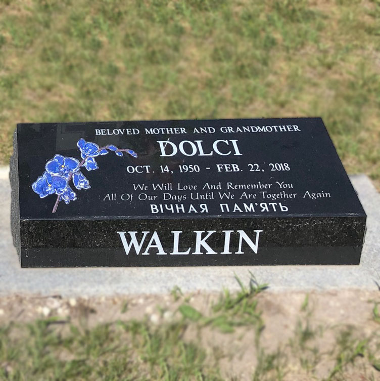 painted flowers orchid black granite pillow marker memorial headstone
